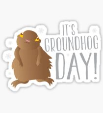 It's GROUNDHOG DAY! with cute little groundhog and snowflakes Sticker