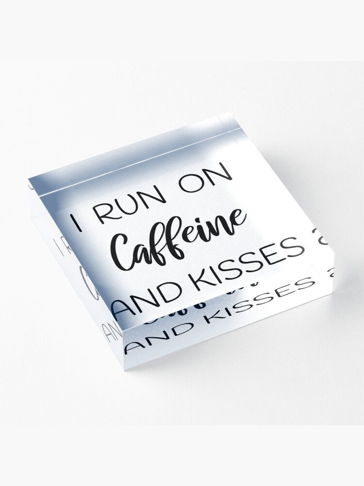 Alternate view of Gift for Caffeine and Kissing Day Shirt for Her Him Acrylic Block
