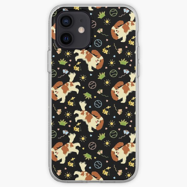 Playing Cavalier King Charles Spaniel - Black iPhone Soft Case
