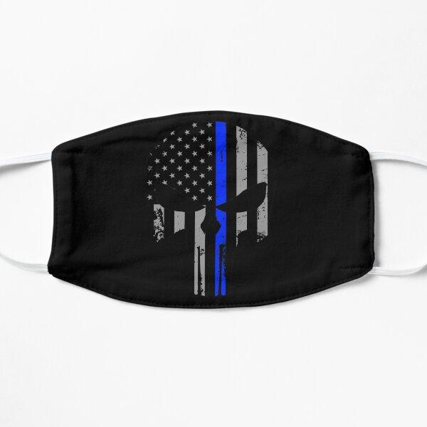 Thin Blue Line Skull USA Flag Police Men's Shirt  Mask
