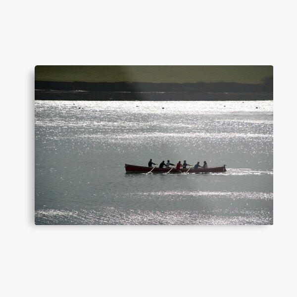 Silhouette of Gig boat racers, St Mawes, Cornwall Metal Print