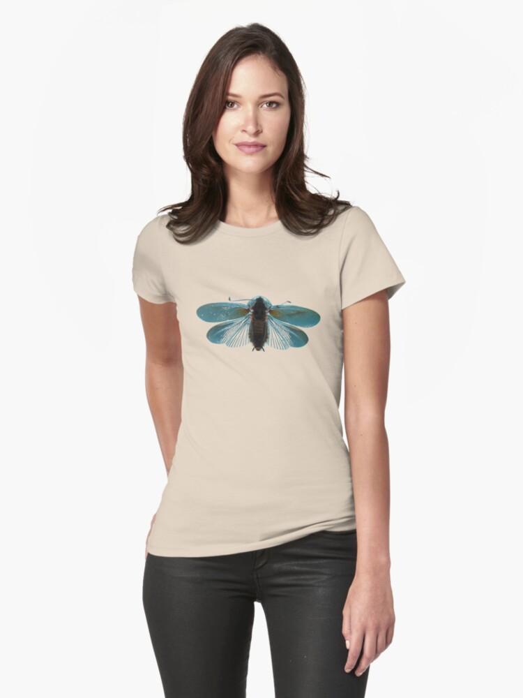 Blue Moth Womens T-Shirt Front
