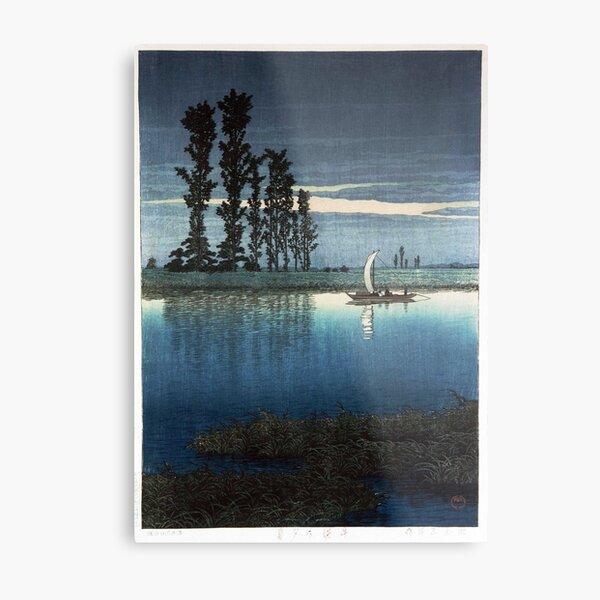 Japanese Woodblock Kawase Hasui Evening of Ushibori Metal Print