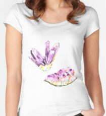 Amethyst Crystal and Geode Women's Fitted Scoop T-Shirt