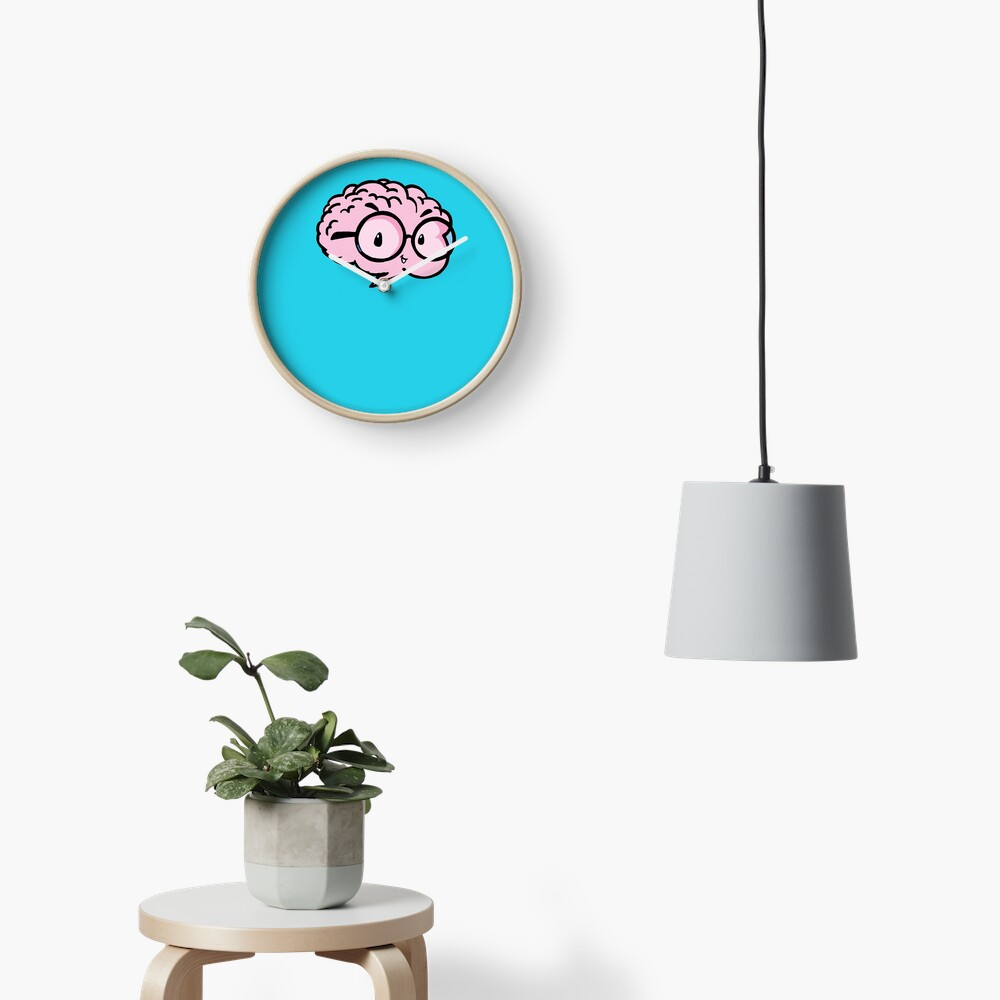 little cute smart brain with glasses Clock