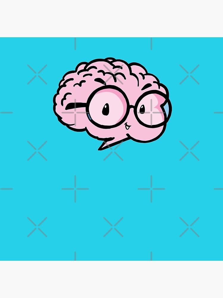 little cute smart brain with glasses by duxpavlic