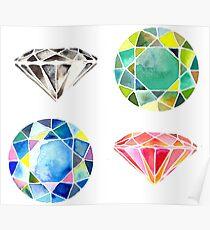 Watercolor Diamonds – April Birthstone Poster