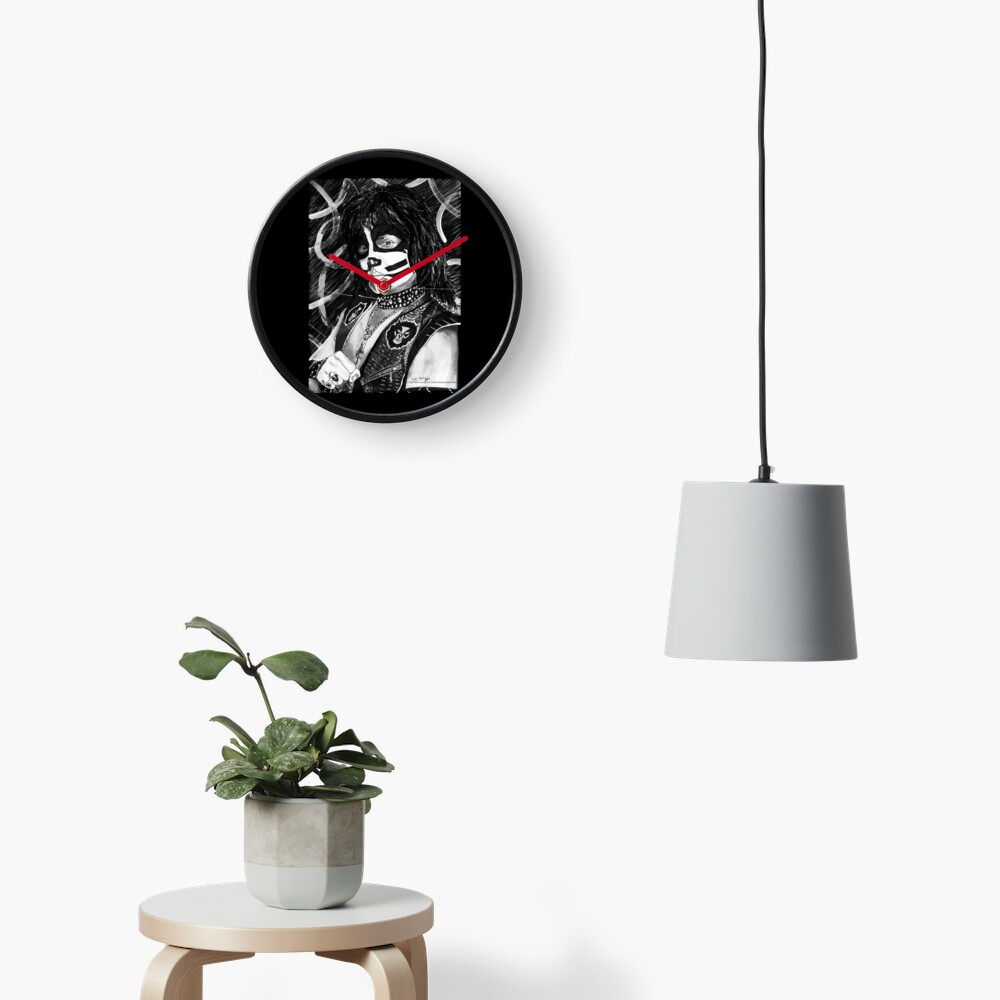 Catman - Ink Original (Black and White) Clock
