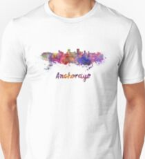 Anchorage skyline in watercolor T-Shirt
