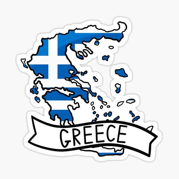 Greece Flag Map Sticker Sticker