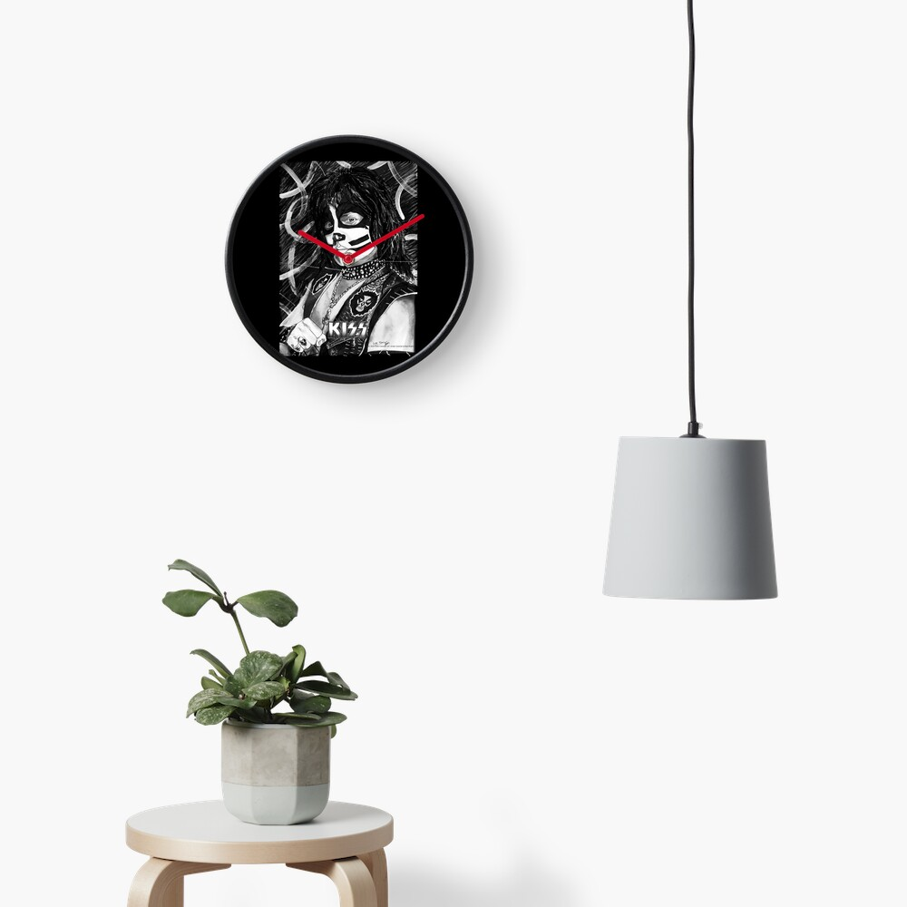 Catman - Ink Original (Black and White with Logo) Clock