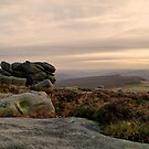 As the sun goes down on Higger Tor by LazloWoodbine