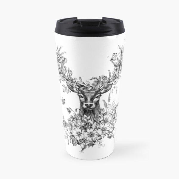 deer in flowers Travel Mug