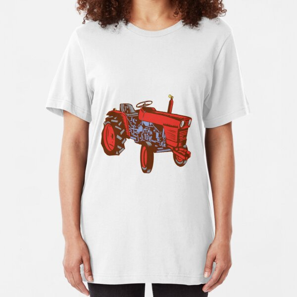 Vintage Farm Tractor Side Woodcut Slim Fit T-Shirt