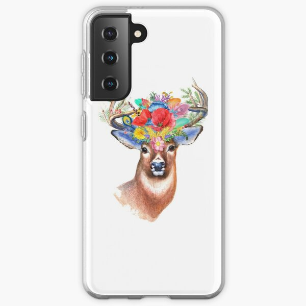 colorful deer in flowers Samsung Galaxy Soft Case