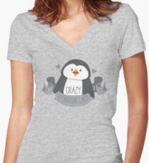 Crazy penguin Lady Banner Women's Fitted V-Neck T-Shirt