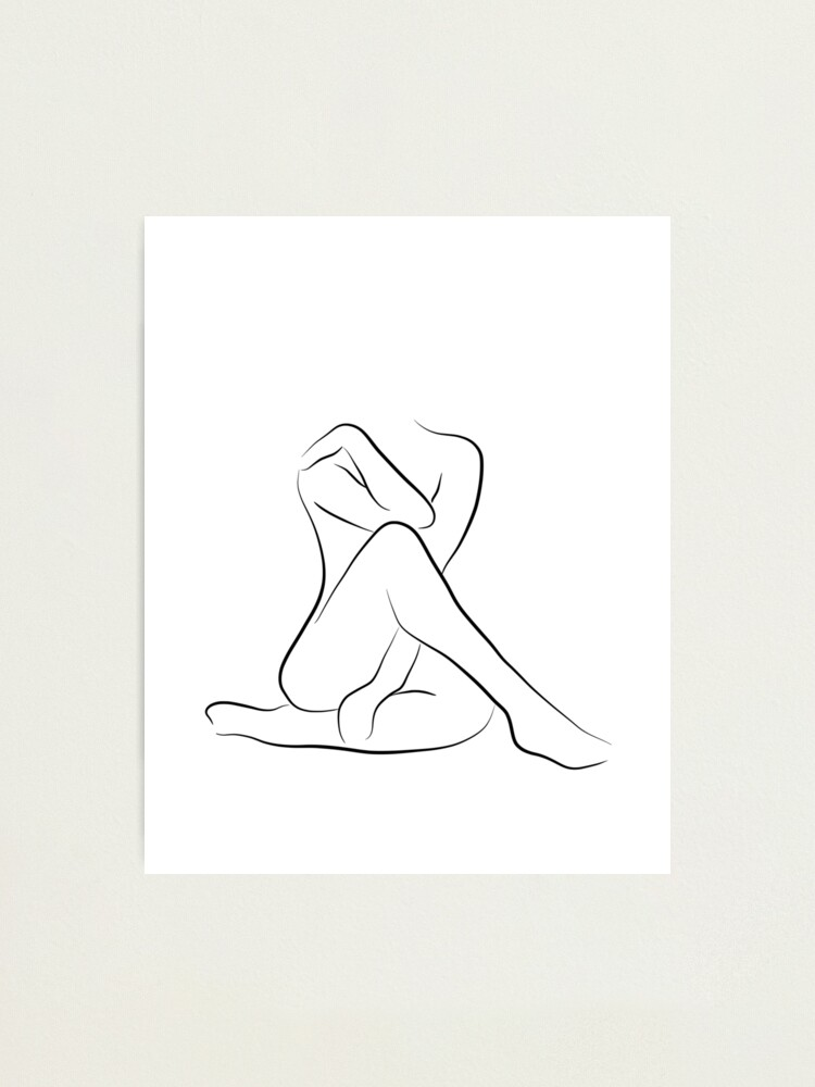 Alternate view of Woman Body Line Art Drawing- Lady Clara Photographic Print