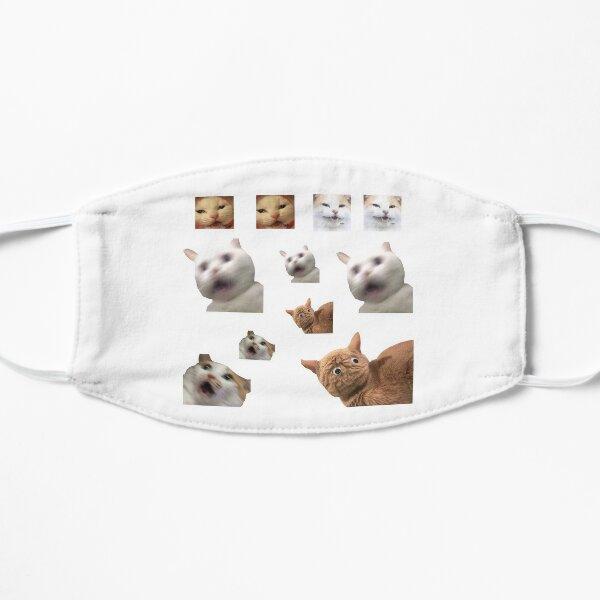 11 pack cats memes sticker combo - weird cat memes 4 Flat Mask