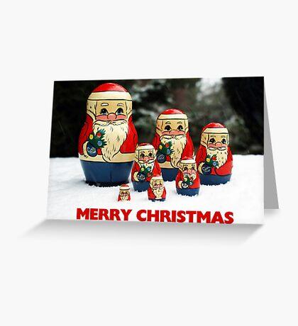 Christmas Card Santas in the Snow Greeting Card