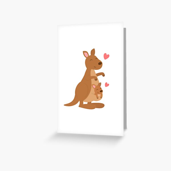 Cute Kangaroo And Joey Greeting Card