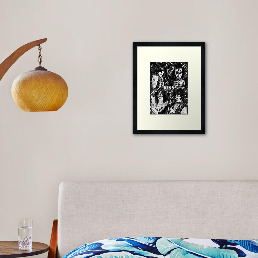 KISS® - Ink Original (Black and White with Logo) Framed Art Print