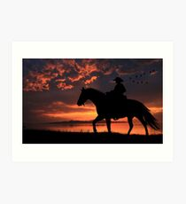 Cowboy Sunset Art Print