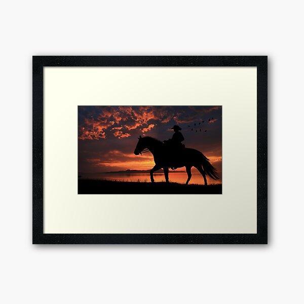 Cowboy Sunset Framed Art Print