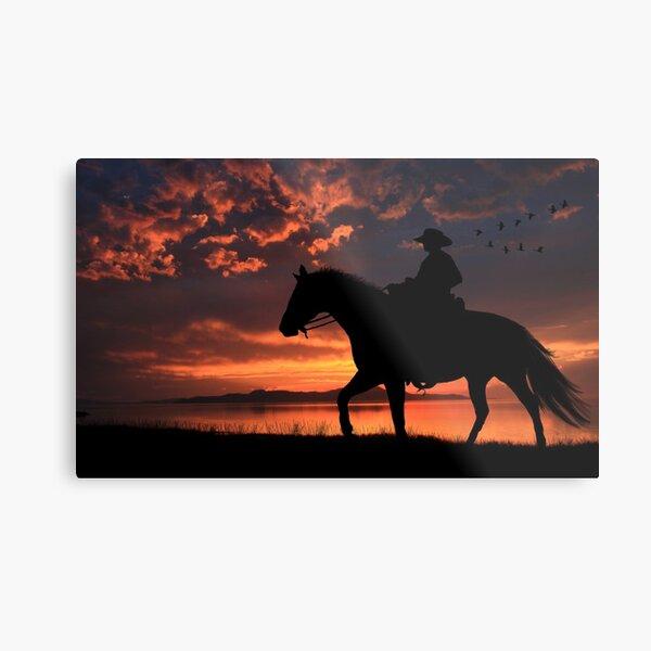Cowboy Sunset Metal Print