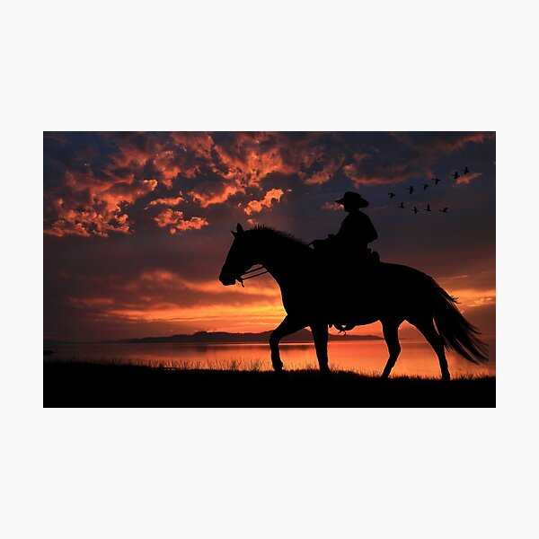 Cowboy Sunset Photographic Print