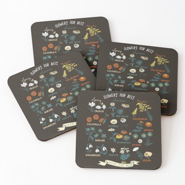Flowers For Bees (Color) Coasters (Set of 4)
