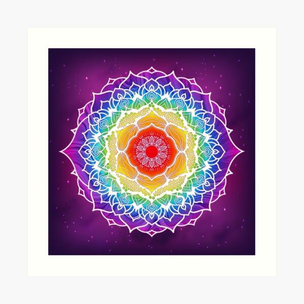 Diseño de Mandala de 7 Chakras - Color WO Lámina artística
