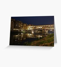 Florence, Italy Night Magic - A Glamorous Evening at Ponte Vecchio  Greeting Card