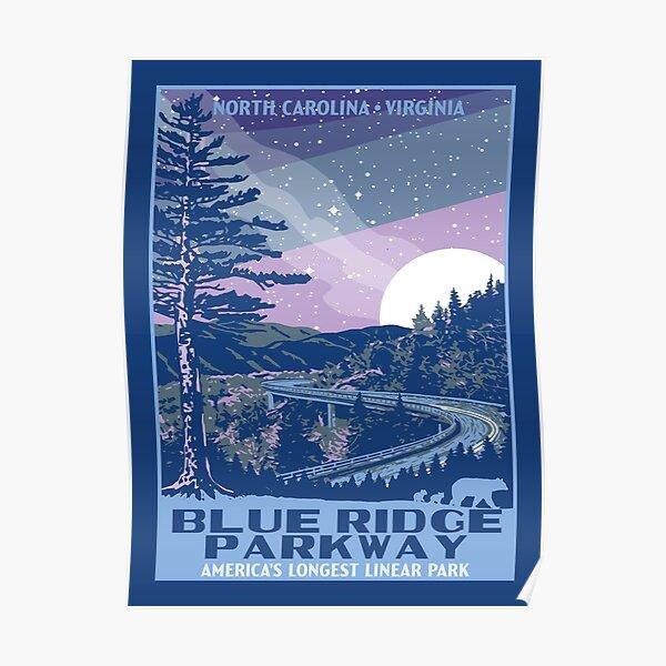 Blue Ridge Parkway Original WPA Poster Style  National Park Design Poster