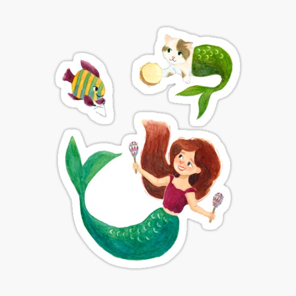 Party Under The Sea - A Mermaid, a Mercat and a Fish playing musical instruments Sticker