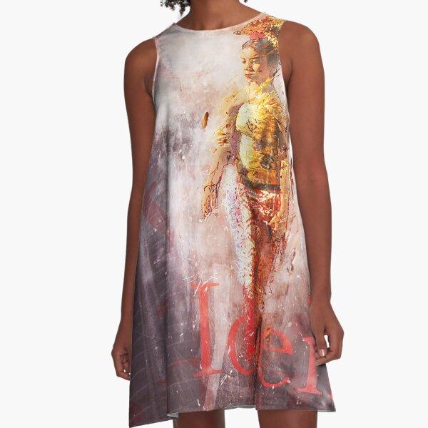 Balinesische Frau im Vintage-Grunge-Stil A-Linien Kleid