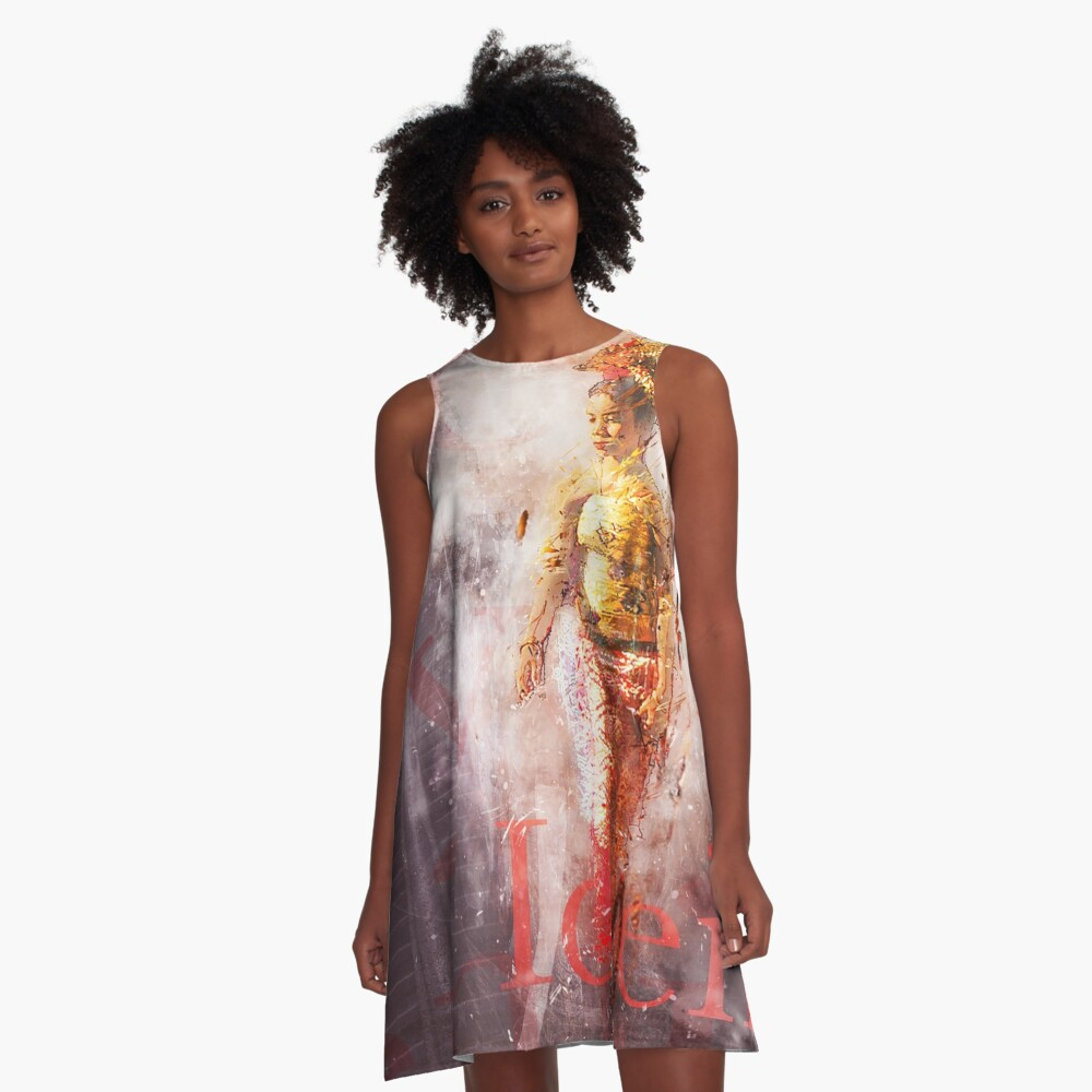 Balinese Woman Vintage Art Grunge Style A-Line Dress