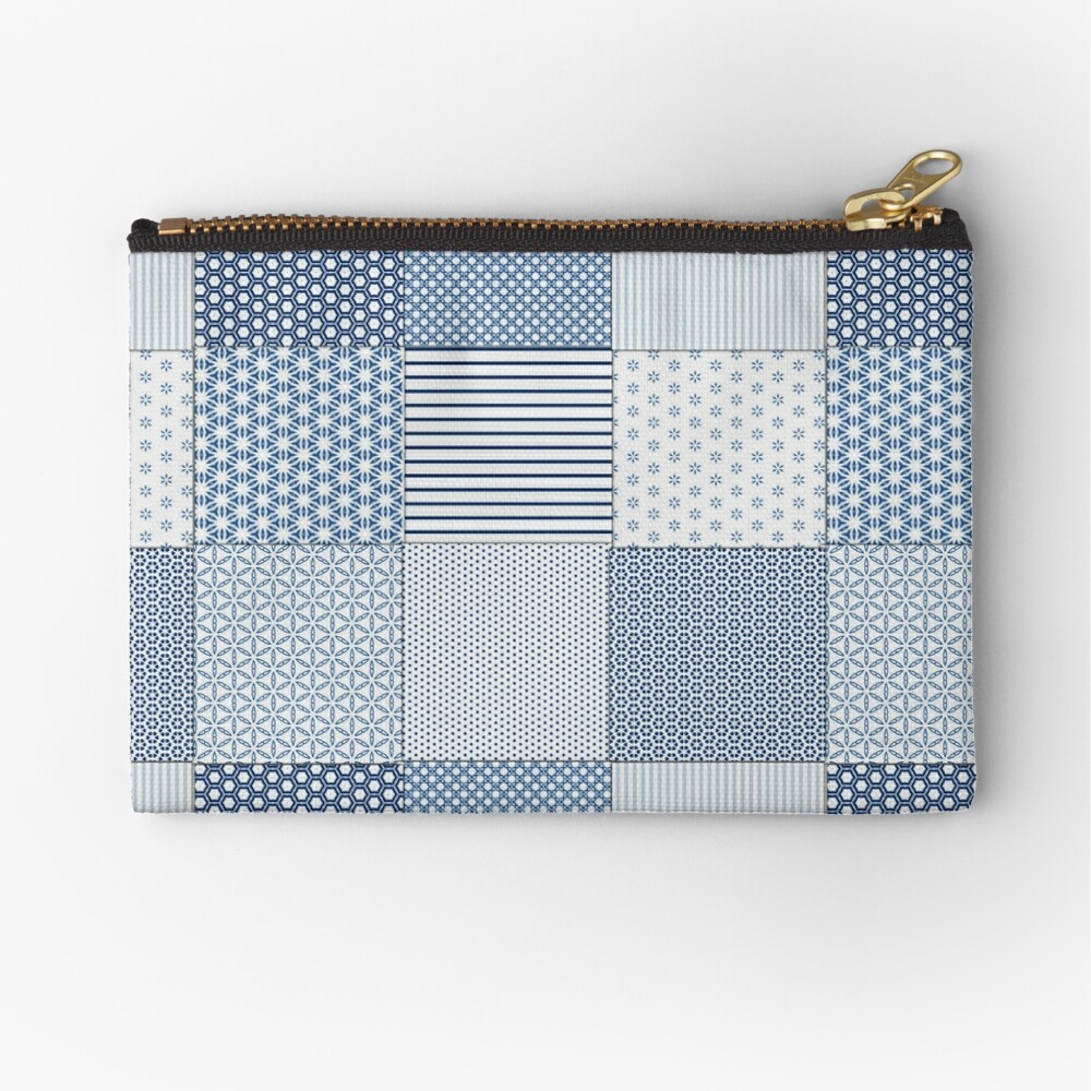 Blue and White Faux Patchwork Pattern Zipper Pouch