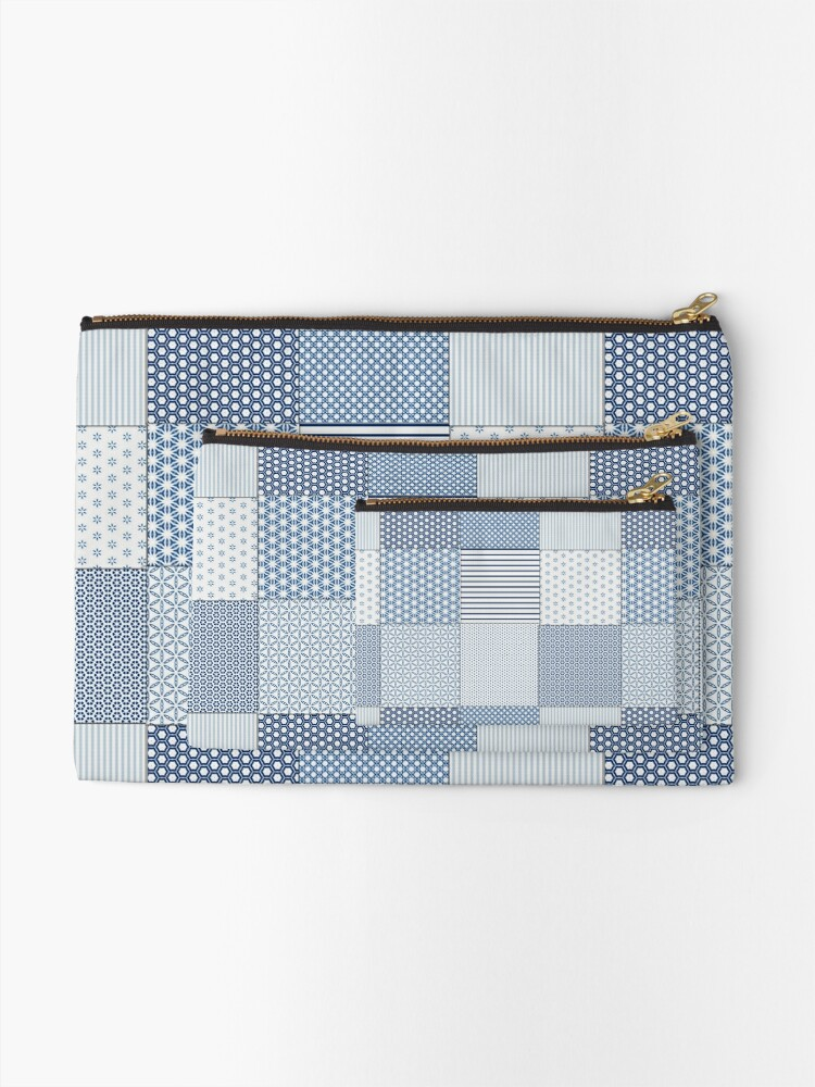 Alternate view of Blue and White Faux Patchwork Pattern Zipper Pouch