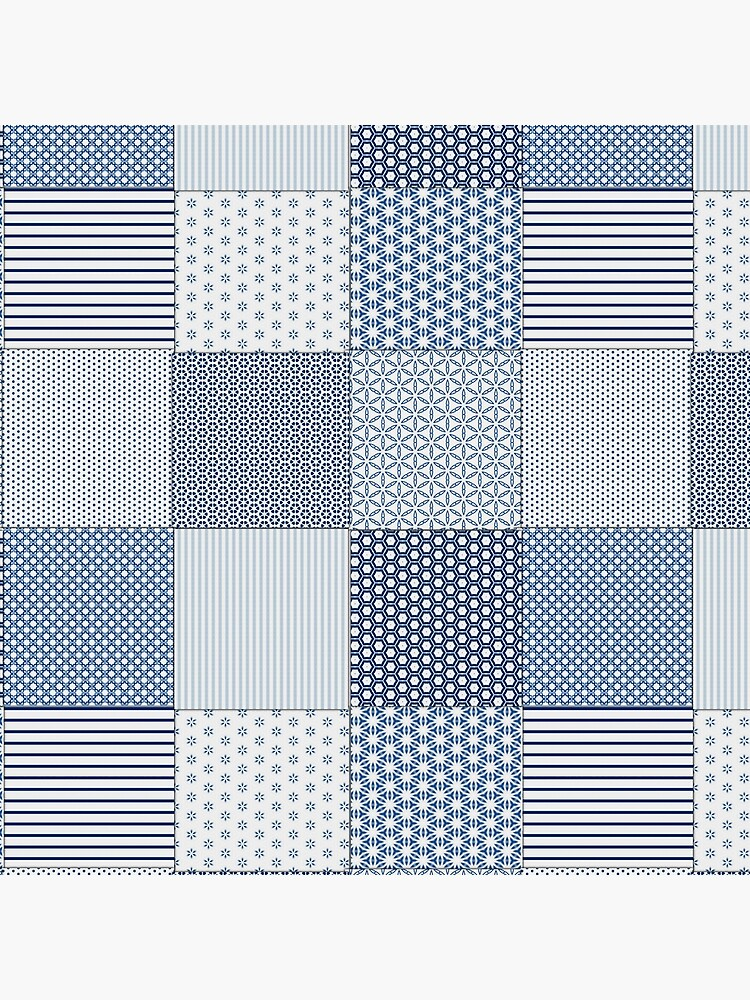 Blue and White Faux Patchwork Pattern by ClareWalkerArt