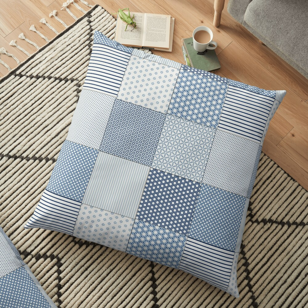 Blue and White Faux Patchwork Pattern Floor Pillow