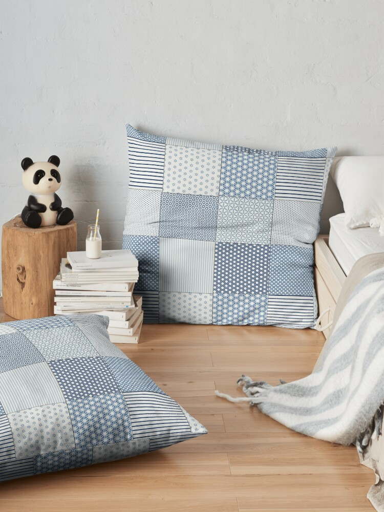 Alternate view of Blue and White Faux Patchwork Pattern Floor Pillow