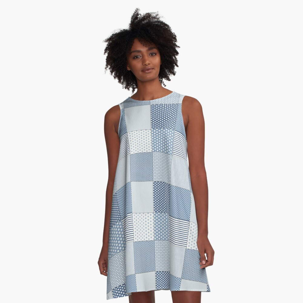 Blue and White Faux Patchwork Pattern A-Line Dress