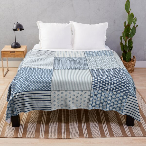 Blue and White Faux Patchwork Pattern Throw Blanket