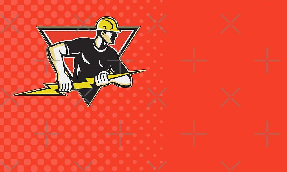 Electrician Construction Worker Retro  by patrimonio