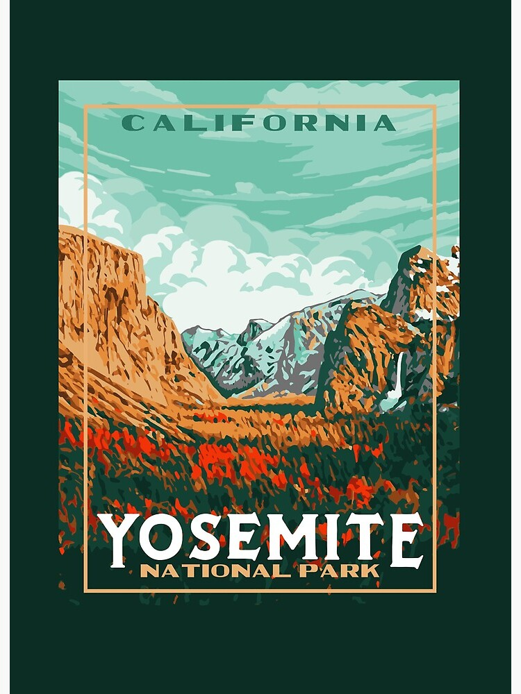 Yosemite National Park Original Wpa Poster Style Retro Design Art Board Print By Giantstepdesign Redbubble