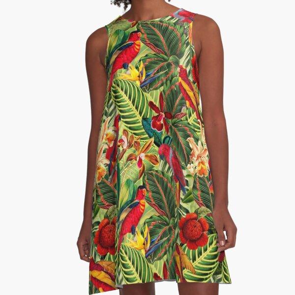 Vintage Tropical Bird Jungle Garden A-Line Dress