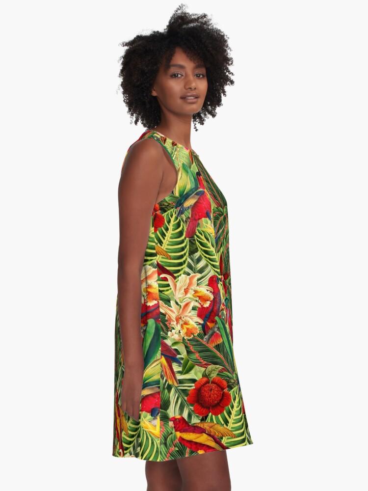 Alternate view of Vintage Tropical Bird Jungle Garden A-Line Dress