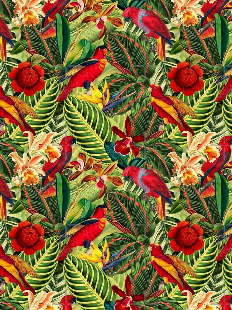 Vintage Tropical Bird Jungle Garden by UtArt