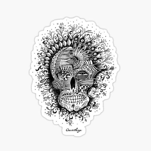 Psycho-delic Floral Skull Sticker