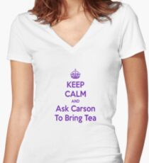 Keep Calm and Ask Carson To Bring Tea Small Women's Fitted V-Neck T-Shirt
